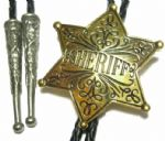 24ct. Gold Plated Sheriff Badge Bolo Tie. Code BTWW16G